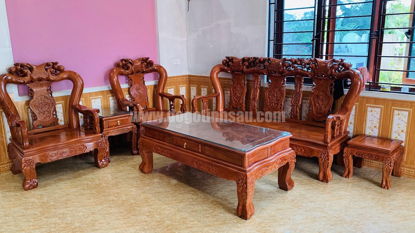 bo ban ghe cot 12 go huong da - Bộ ghế tay 12 gỗ hương đá Minh Quốc đào