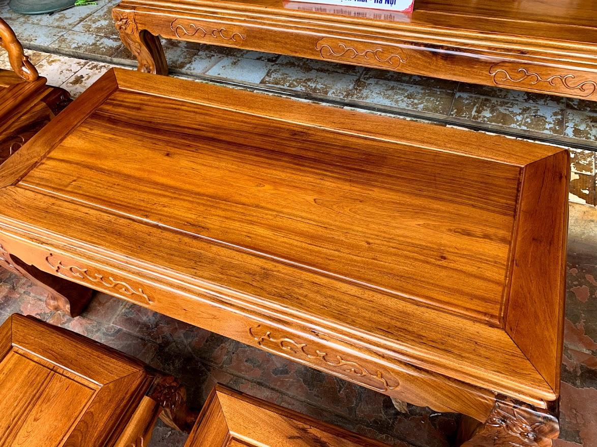 bo ban ghe go gu ta quang binh tay 12 - Bộ bàn ghế tay 12 gỗ gụ ta Quảng Bình (vách trơn chọn vân)