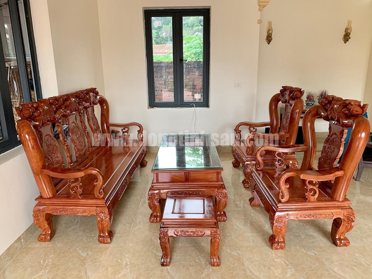 bo ban ghe huong da tay 10 - Bộ bàn ghế tay 12 gỗ hương đá mẫu Minh Quốc đào
