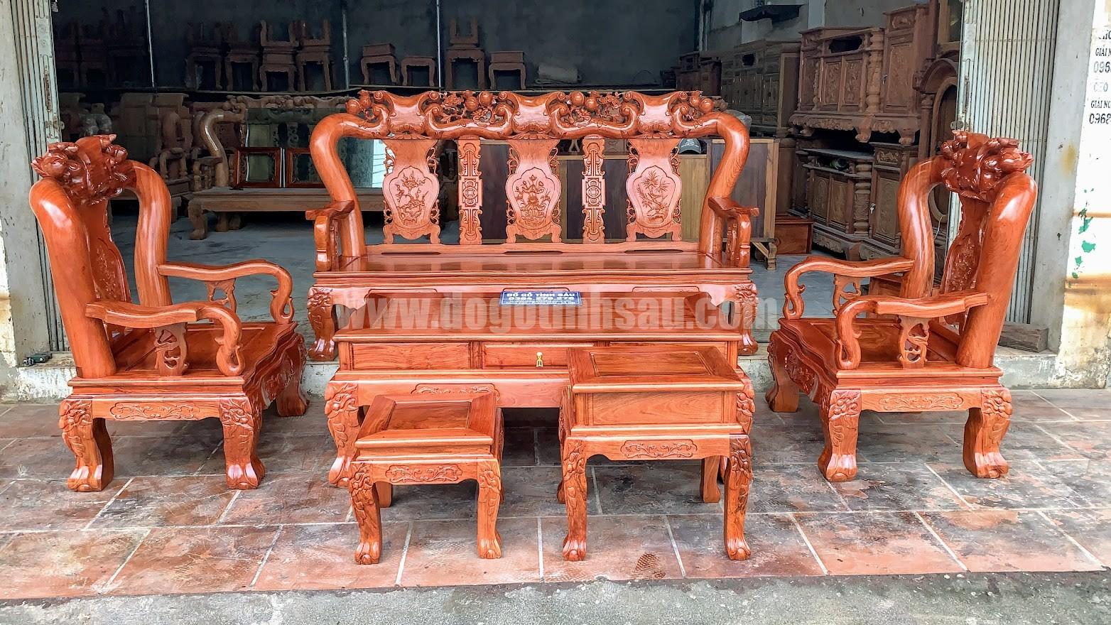 bo ban ghe minh quoc cot 12 go huong da - Bộ ghế tay 12 gỗ hương đá Minh Quốc đào