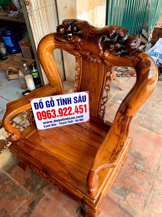 bo ban ghe minh quoc gu ta quang binh tay 12 3 - Bộ bàn ghế tay 12 gỗ gụ ta Quảng Bình (vách trơn chọn vân)