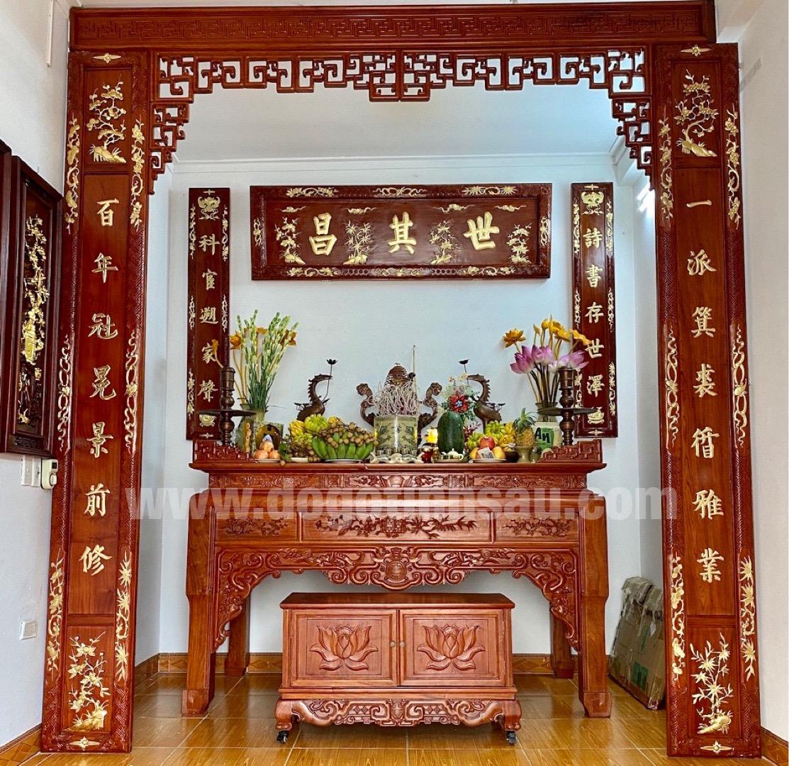 bo hoanh phi cau doi go huong - Giá hoành phi câu đối bằng gỗ hương bao nhiêu?