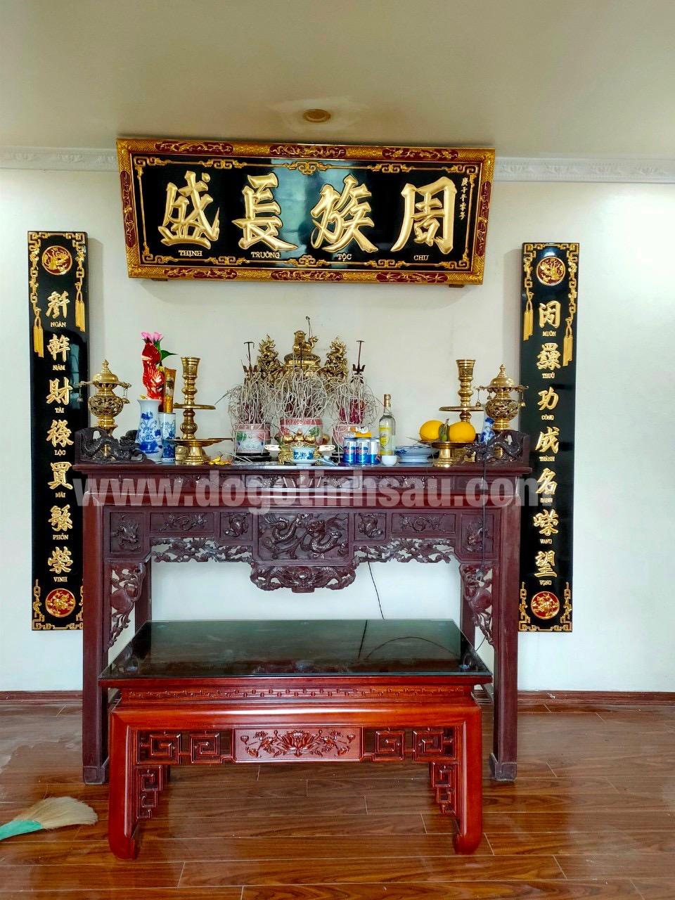 bo hoanh phi cau doi go mit son son thiep vang - Hoành phi câu đối bằng gỗ mít có tốt không?