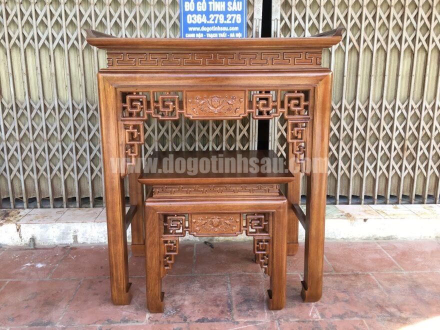 cap ban tho chung cu an gian go gu 880x660 - Cặp bàn thờ chung cư gỗ gụ án gian + bàn cơm 1m07