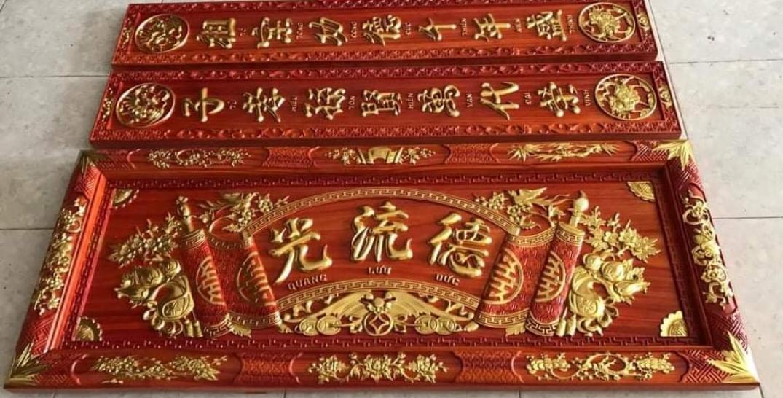 hoanh phi cau doi go huong do - Giá hoành phi câu đối bằng gỗ hương bao nhiêu?