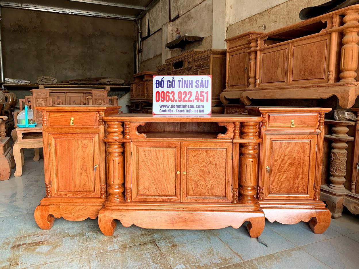 ke cot tron 2m go huong da - Kệ Tivi Cột Trơn Gỗ Hương Đá Dài 2m (Hàng Dày)