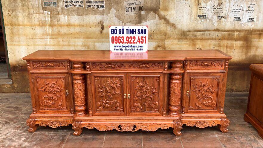 ke mat phang cot nho 2m4 go huong da 880x495 - Kệ Tivi Cột Nho Con Sóc 2m4 Mặt Phẳng Gỗ Hương Đá (Hàng Thửa)