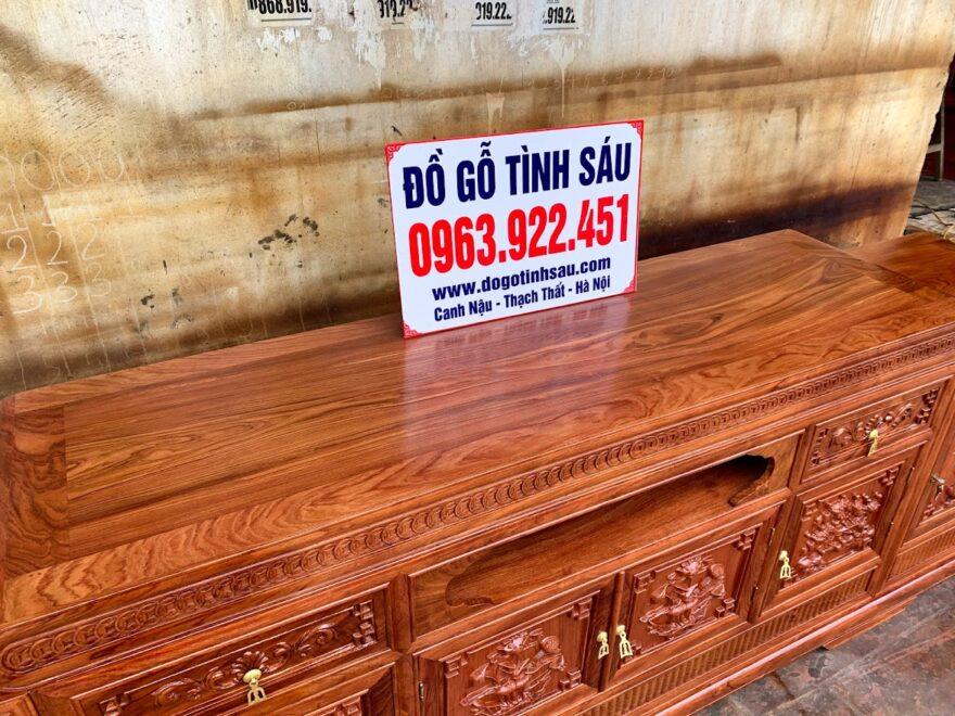 ke mo 2m6 go huong da 880x660 - Kệ Tivi Gỗ Hương Đá 2m6 Mẫu Mõ Lồi Đồng Tiền (Hàng Dày)