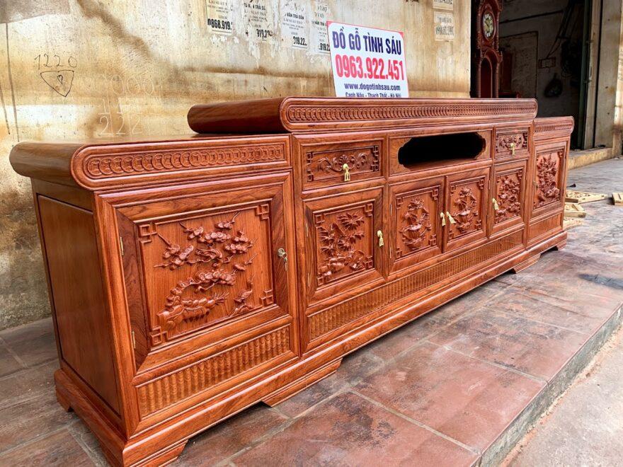 ke mo dong tien 2m6 go huong da 880x660 - Kệ Tivi Gỗ Hương Đá 2m6 Mẫu Mõ Lồi Đồng Tiền (Hàng Dày)