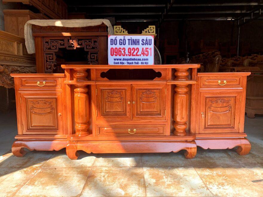 ke tivi cot loi go huong da 2m2 880x660 - Kệ Tivi Cột Trơn Lồi Giữa 2m2 Gỗ Hương Đá (Hàng Dày)
