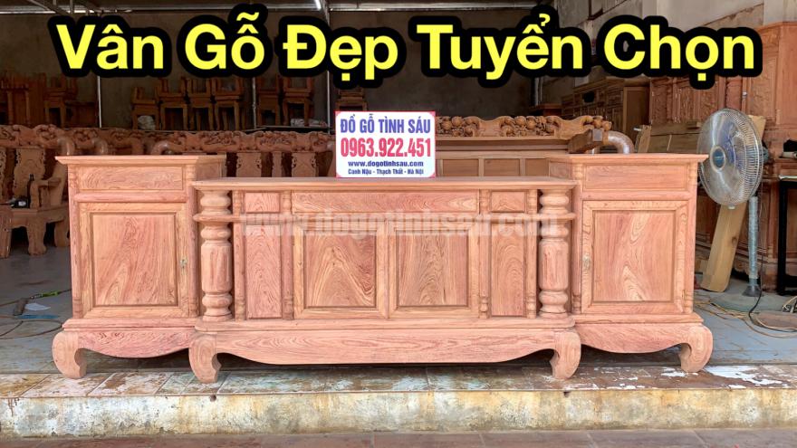 ke tivi cot tron 2m6 go huong da nam phi 880x495 - Kệ Tivi Cột Trơn 2m6 Gỗ Hương Đá (Hàng Chọn Vân)