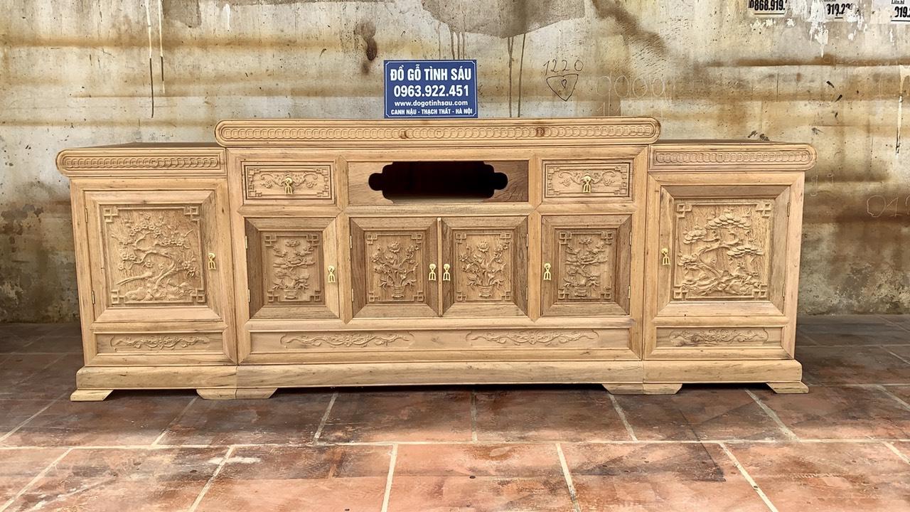 ke tivi go gu mo loi dong tien moc - Kệ tivi gỗ gụ 2m2 mẫu mõ lồi đồng tiền (hàng đặt)