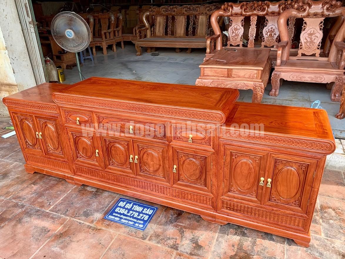ke tivi mo loi go huong da hang day dan - Kệ tivi mõ lồi đồng tiền gỗ hương đá 2m4 (3 ngăn kéo)