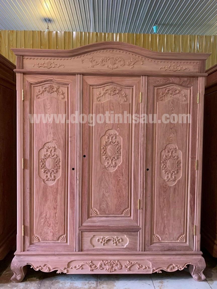 tu ao go huong da 3 canh 1 - Tại sao ngày càng nhiều khách hàng quan tâm lựa chọn tủ áo gỗ hương?