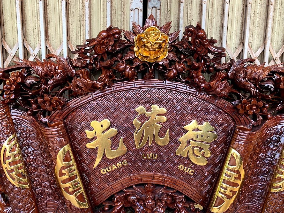 cuon thu cau doi mai hoa long go gu day 5cm 5 - Câu Đối Cuốn Thư Mai Hóa Long Gỗ Gụ Dày 5cm (Dát Vàng Đài Loan)