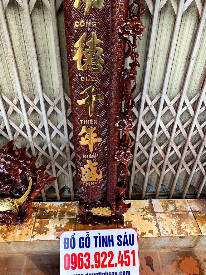 cuon thu cau doi mai hoa long go gu day 5cm 8 - Câu Đối Cuốn Thư Mai Hóa Long Gỗ Gụ Dày 5cm (Dát Vàng Đài Loan)
