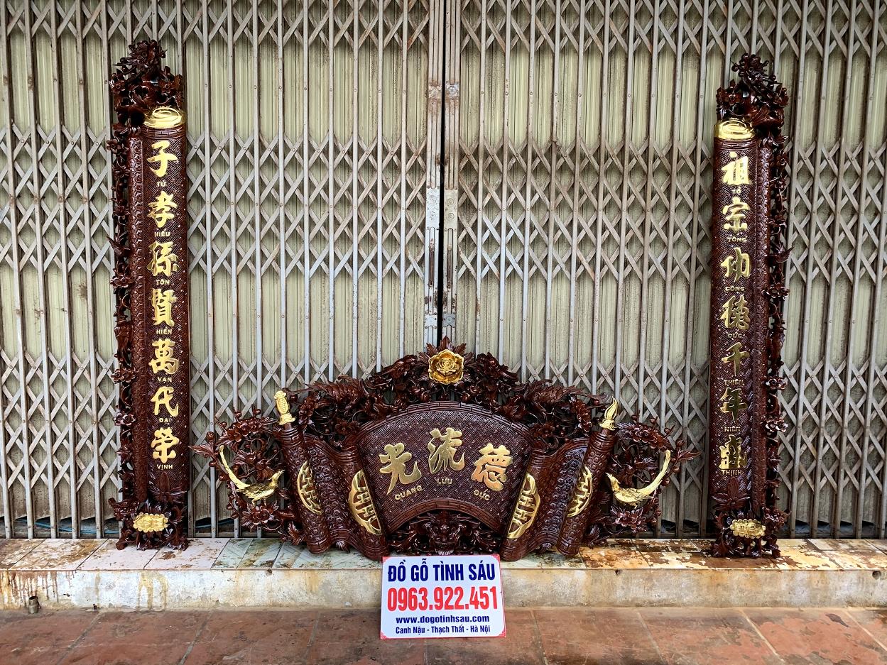 cuon thu cau doi mai hoa long go gu day 5cm - Câu Đối Cuốn Thư Mai Hóa Long Gỗ Gụ Dày 5cm (Dát Vàng Đài Loan)
