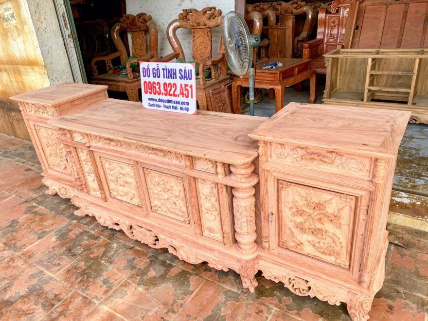 ke tivi 2m6 go huong da 880x660 - Kệ Tivi Gỗ Hương Đá Cột Nho Con Sóc 2m6 (Hàng Dày)